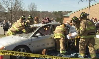 Ware High students stage mock accident on distracted driving