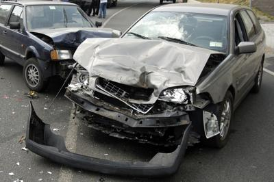 A car accident with major front end damage