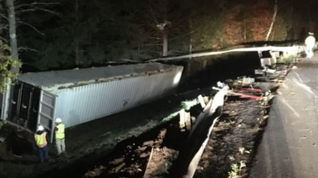 Clean-up efforts continue in Orange after tractor trailer carrying methane gas rolled over.
