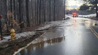 Section of Country Club Rd. in Greenfield closed as crews work to mend water main break.