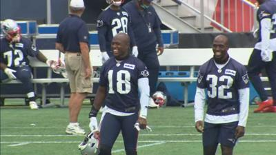 Patriots players smiling