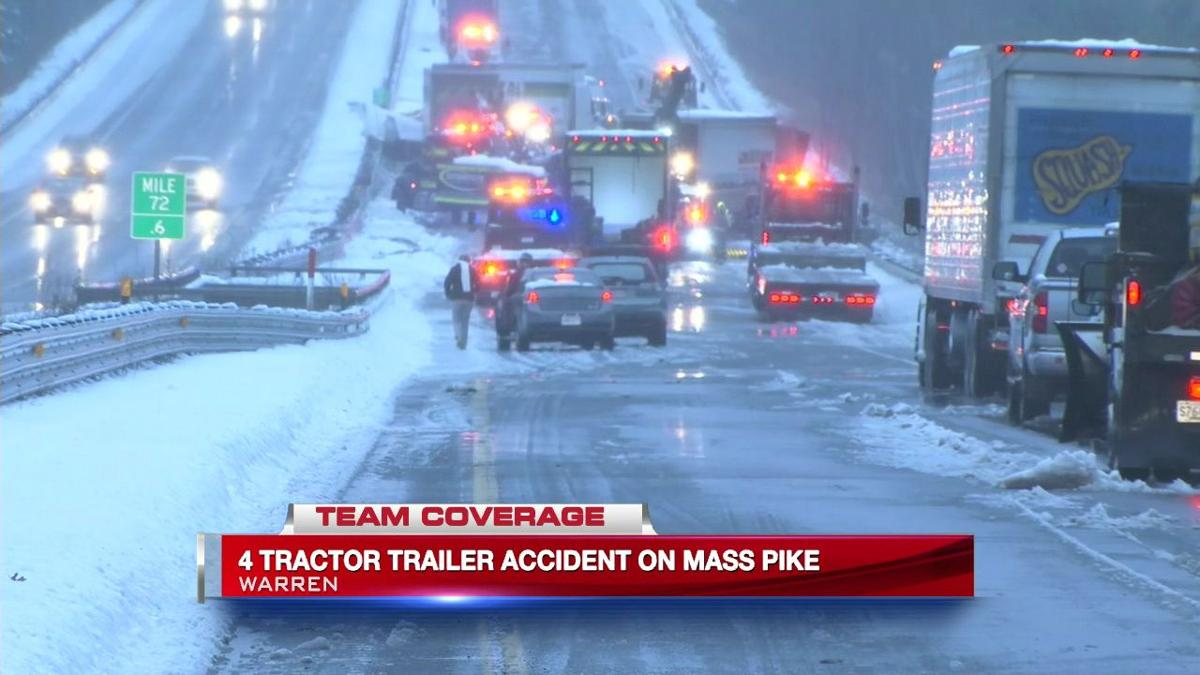 Multiple tractor-trailer crash closes eastbound side of Mass Pike