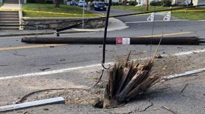 Driver hospitalized after striking pole with vehicle in Northampton.
