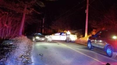 Section of New Boston Rd. in Sturbridge closed due to two-car crash.