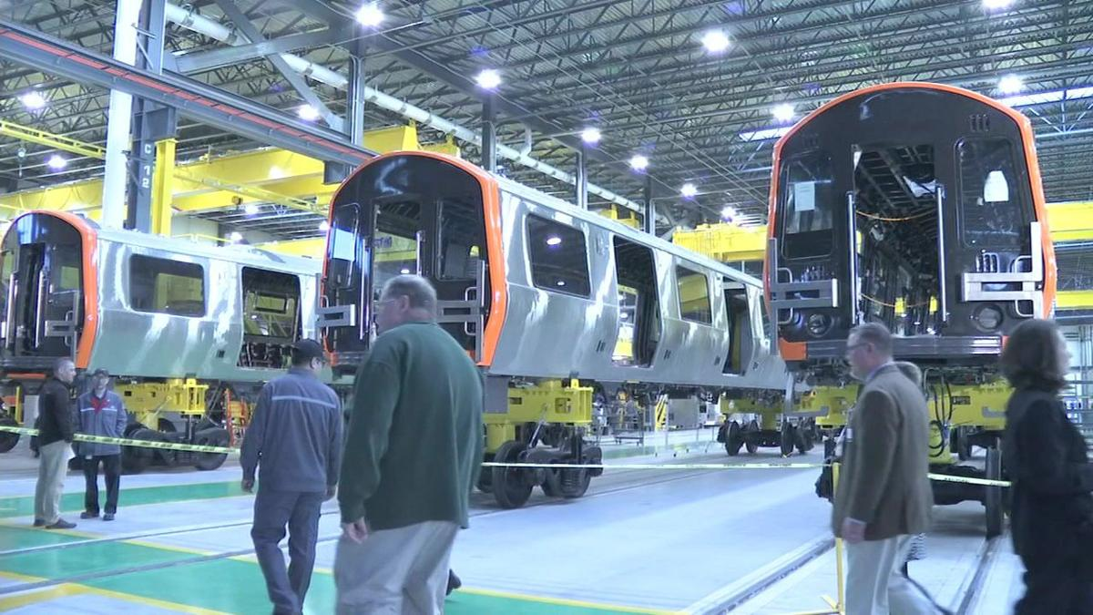 First MBTA cars roll off assembly line at Springfield facility