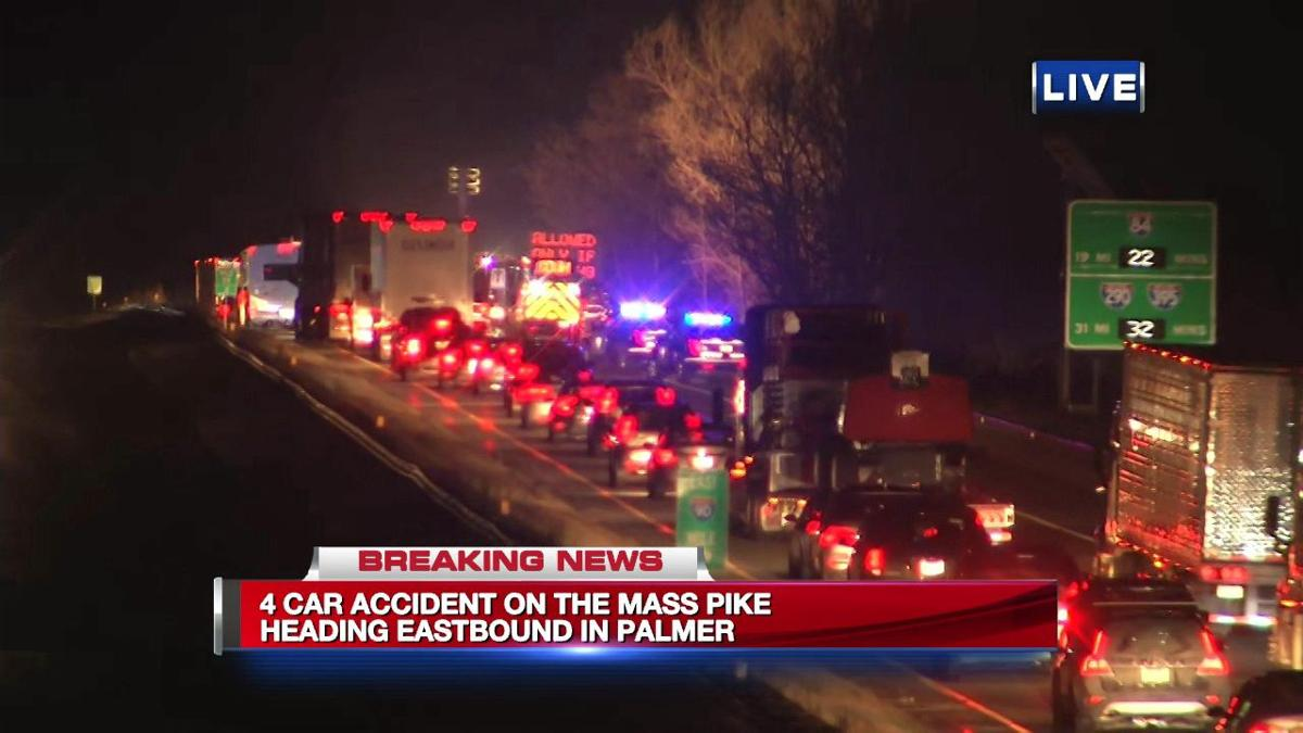 Police investigating 3-car crash on Mass Pike in Palmer