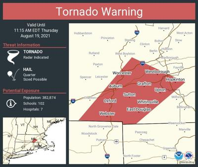 Tornado Warning issues for Worcester, Webster and Whitinsville