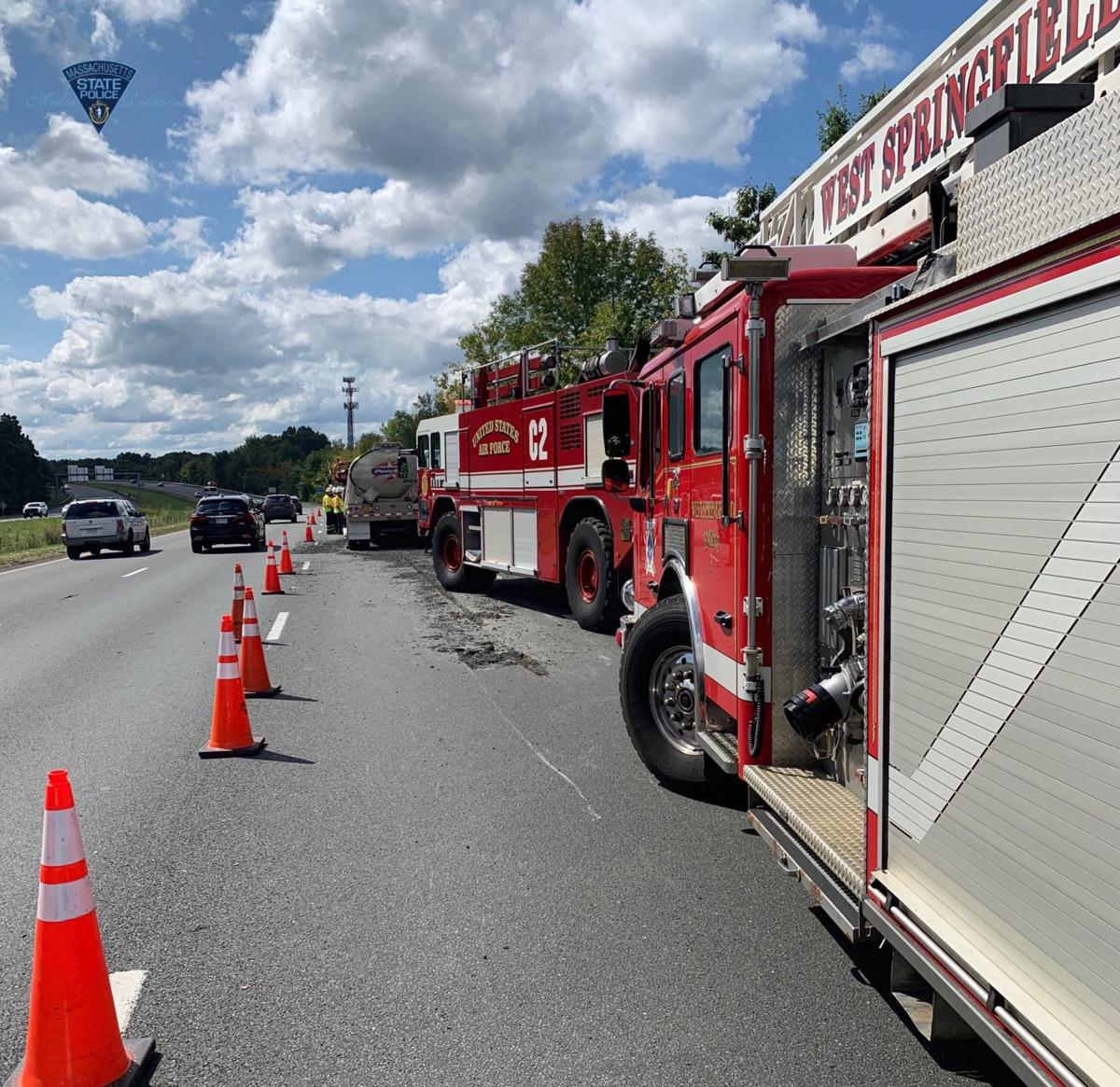 Tanker dislodged from truck on I-91