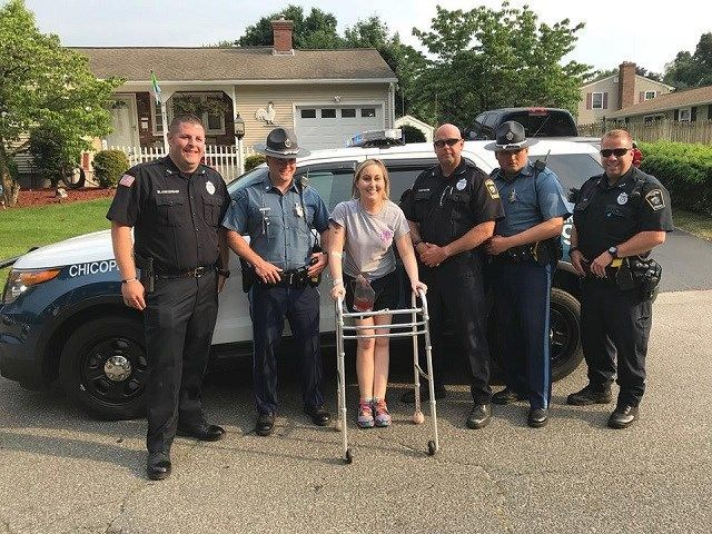 Chicopee woman receives police escort home after transplant surgery