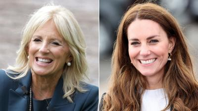 Jill Biden meets and tours school with the Duchess of Cambridge