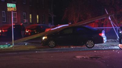 One hospitalized after car strikes utility pole in Springfield.