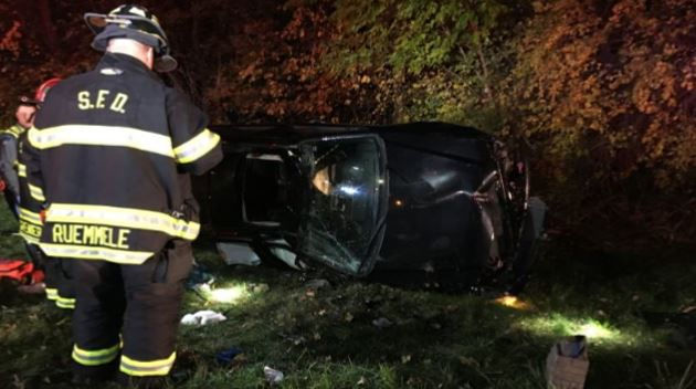 One hospitalized following rollover on I-291 in Springfield.