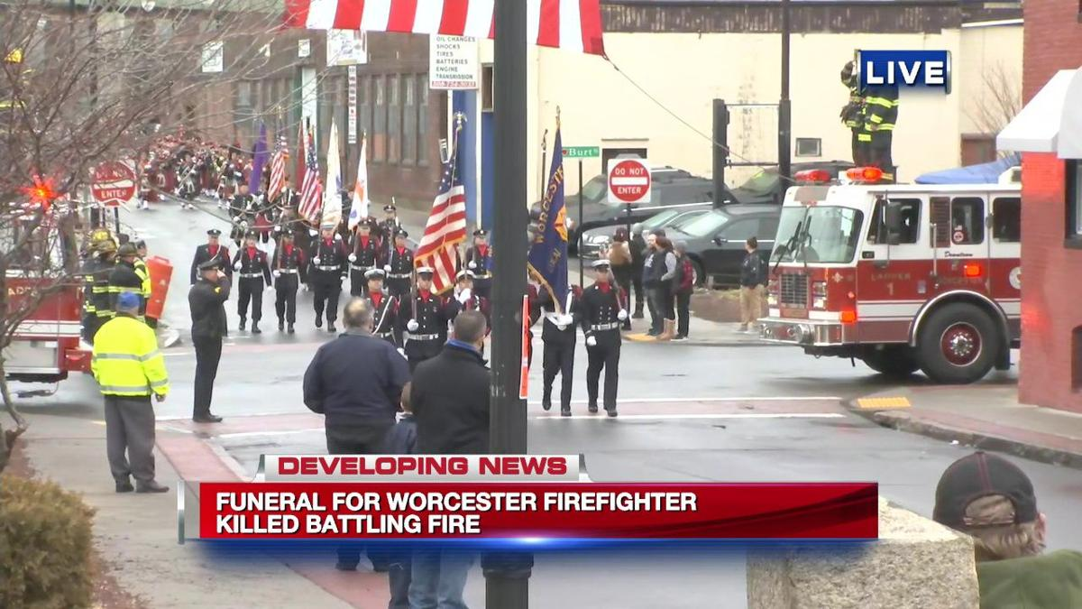 Funeral today for Worcester firefighter killed battling fire.