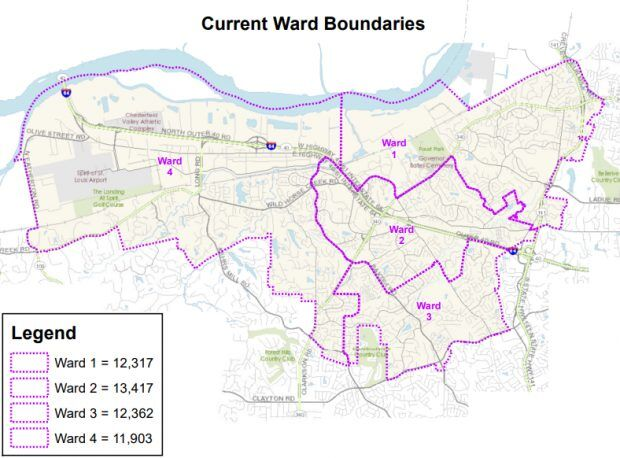 Current ward boundaries in Chesterfield