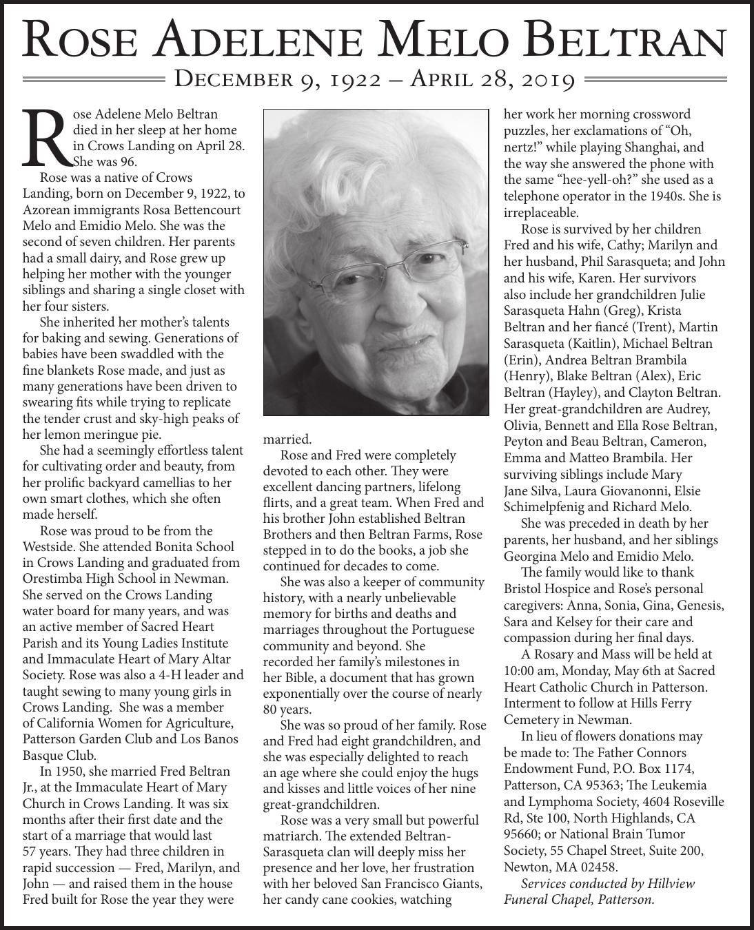Tribute: Rose Adelene Melo Beltran
