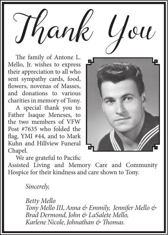 Card Of Thanks: Antone L. Mello, Jr.