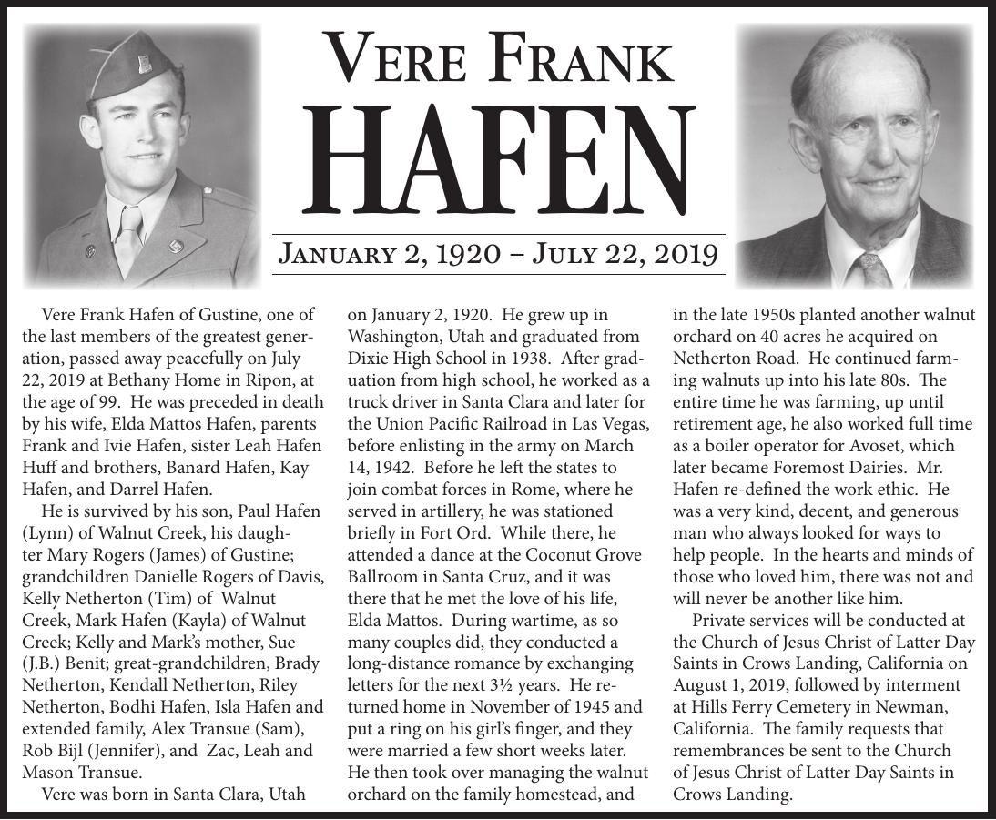 Tribute: Vere Frank Hafen