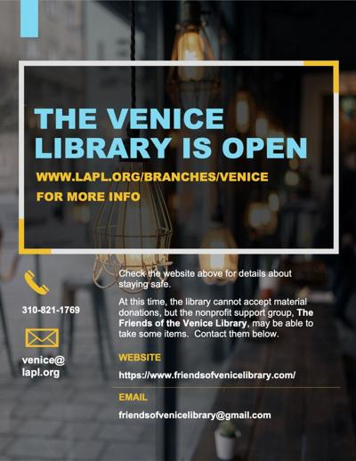 Venice Library Open Sign