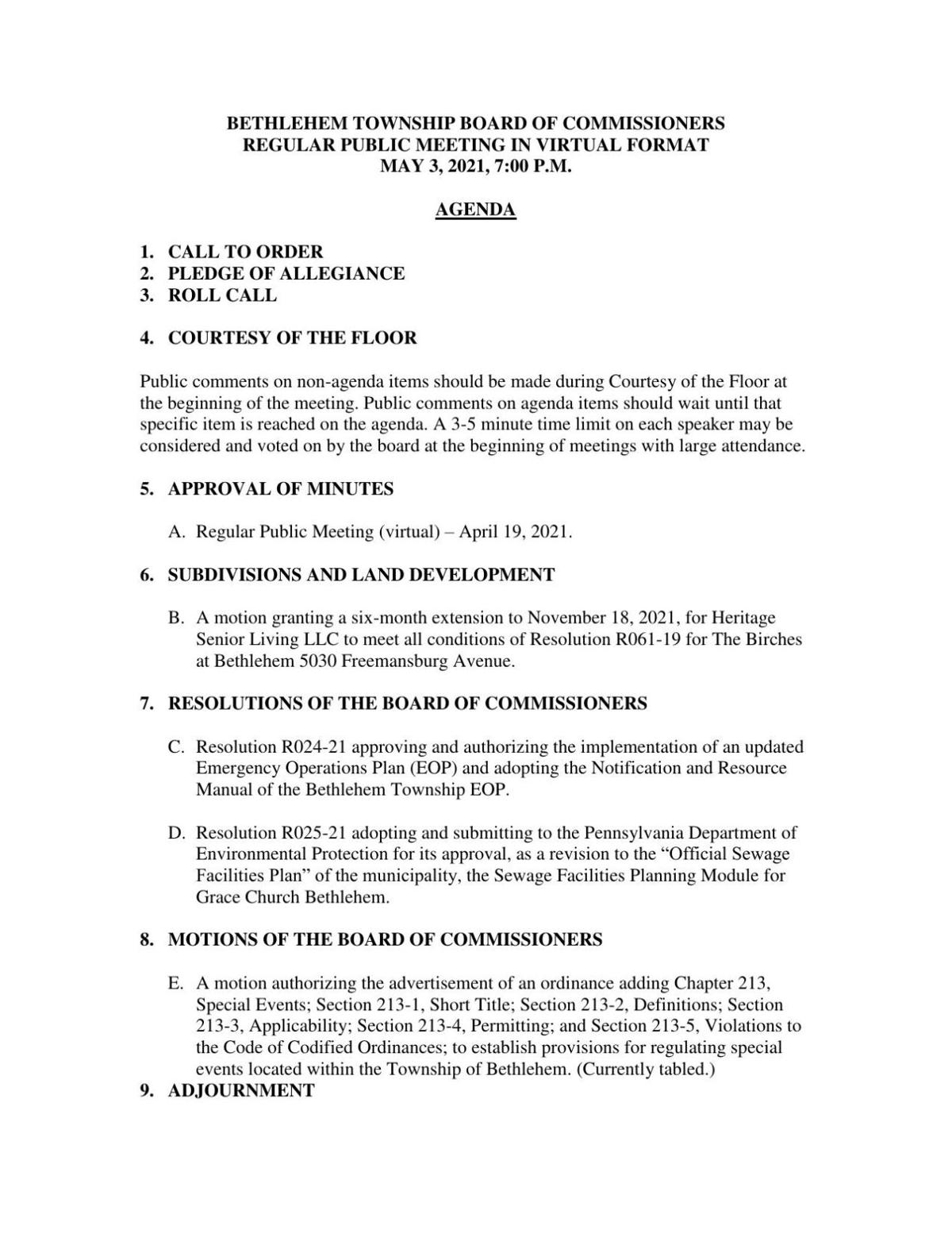 Bethlehem Township Board of Commissioners Meeting