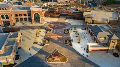 Hersheypark front gate and Chocolatetown aerial