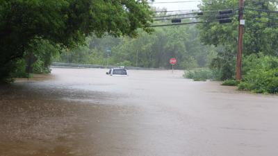 Flooding at Liberty Road and Main Street in Upper Saucon Township