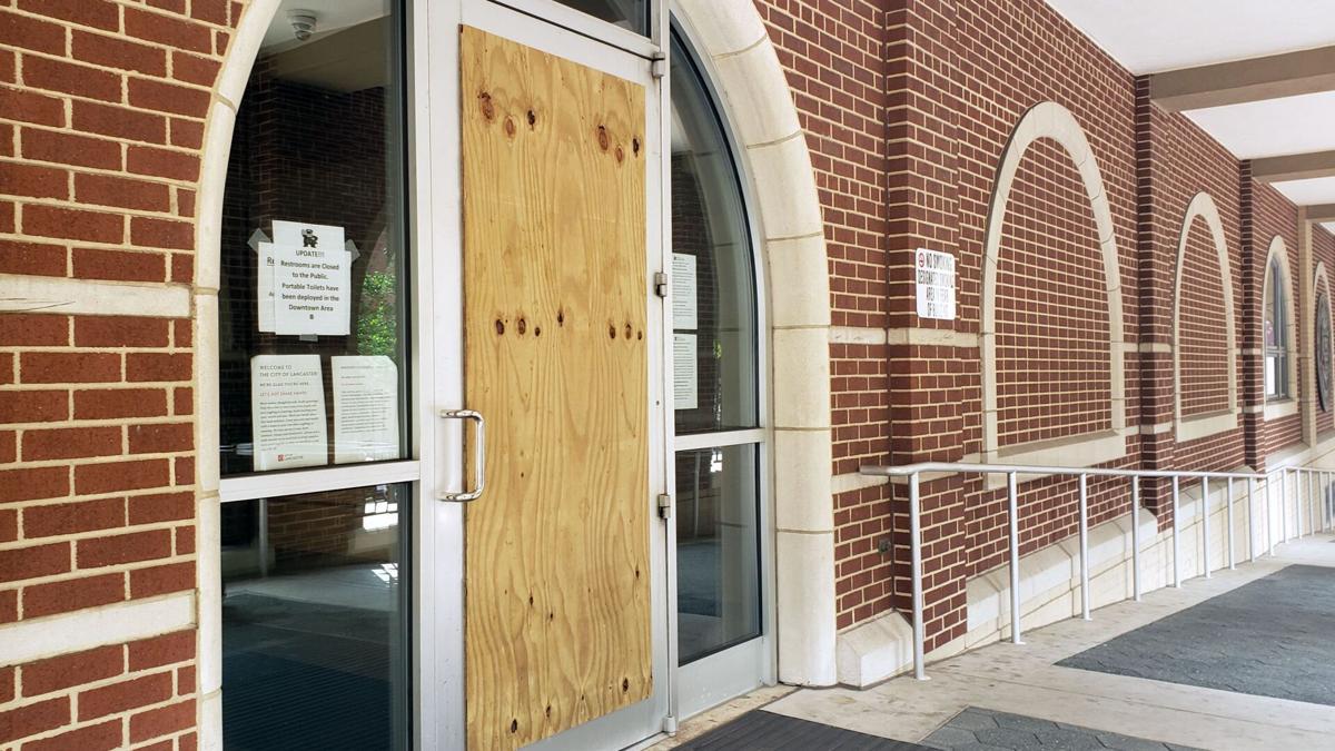 Protest damage in Lancaster