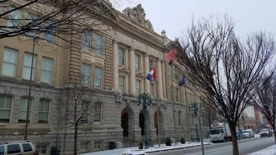 Reading City Hall in snow
