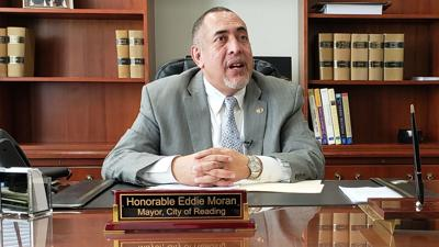 Reading Mayor Eddie Moran in city hall office