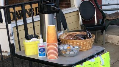 Free items outside Dawn's Deli in Lenhartsville