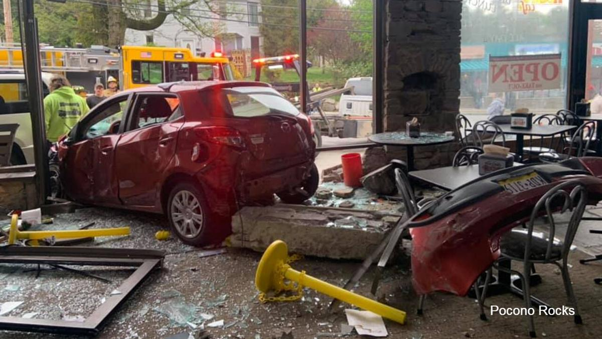 Cars crash into Pocono Rocks inside scene