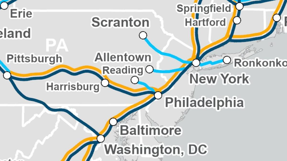 Amtrak map of train service between Reading and Philadelphia