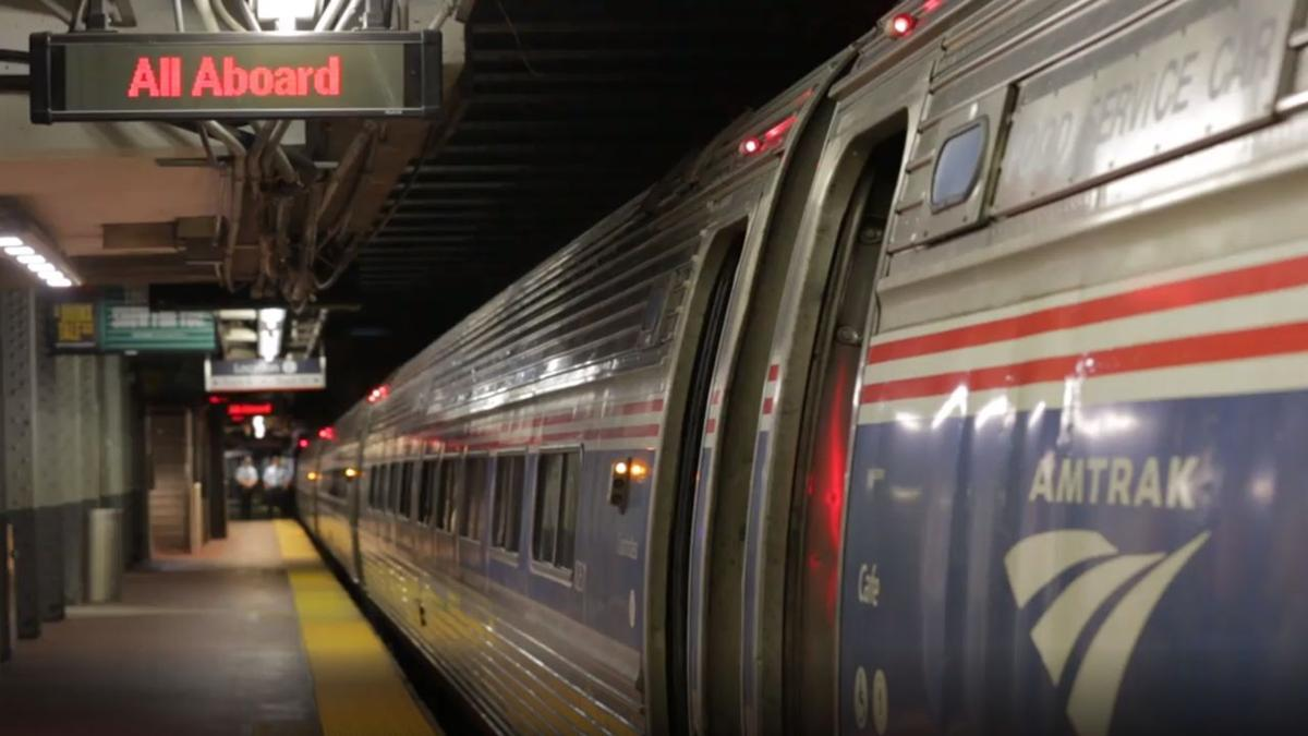 Amtrak train at Penn Station in New York