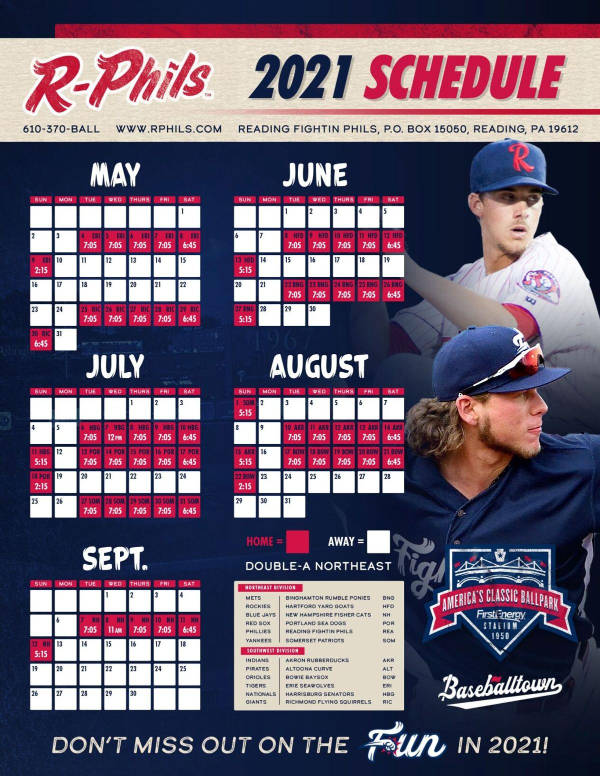 Reading Fightin Phils 2021 schedule with game times