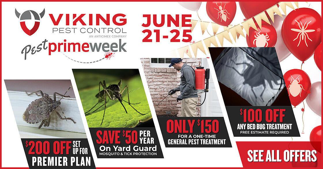 Enjoy huge pest control savings during Viking Pest Control's Pest Prime Week