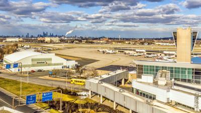 Philadelphia International Airport and city skyline