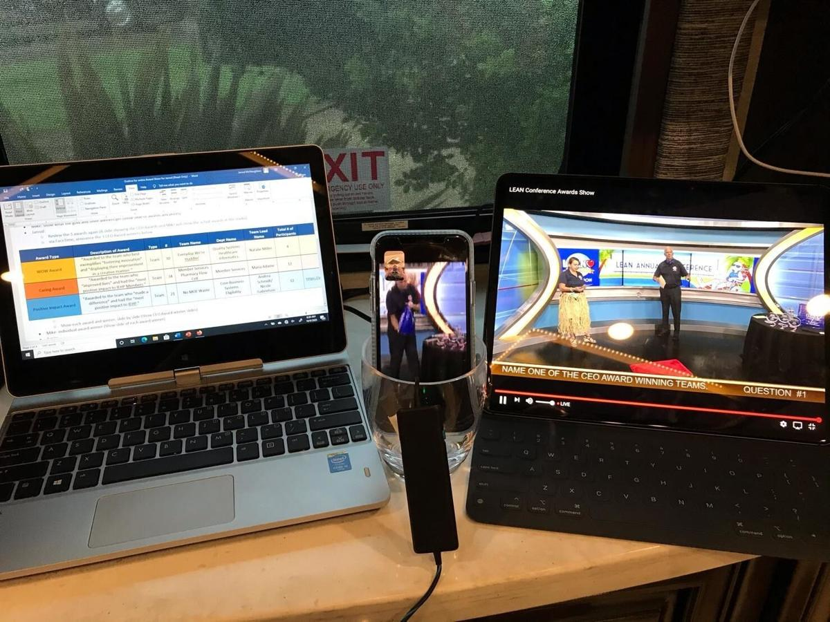 If there's a will, there's a way: IEHP CEO, Jarrod McNaughton's virtual set up for the health plan's first ever Lean Virtual Conference in 2020. The conference recognizes process improvements made by IEHP Team Members and inspires continued innovation.