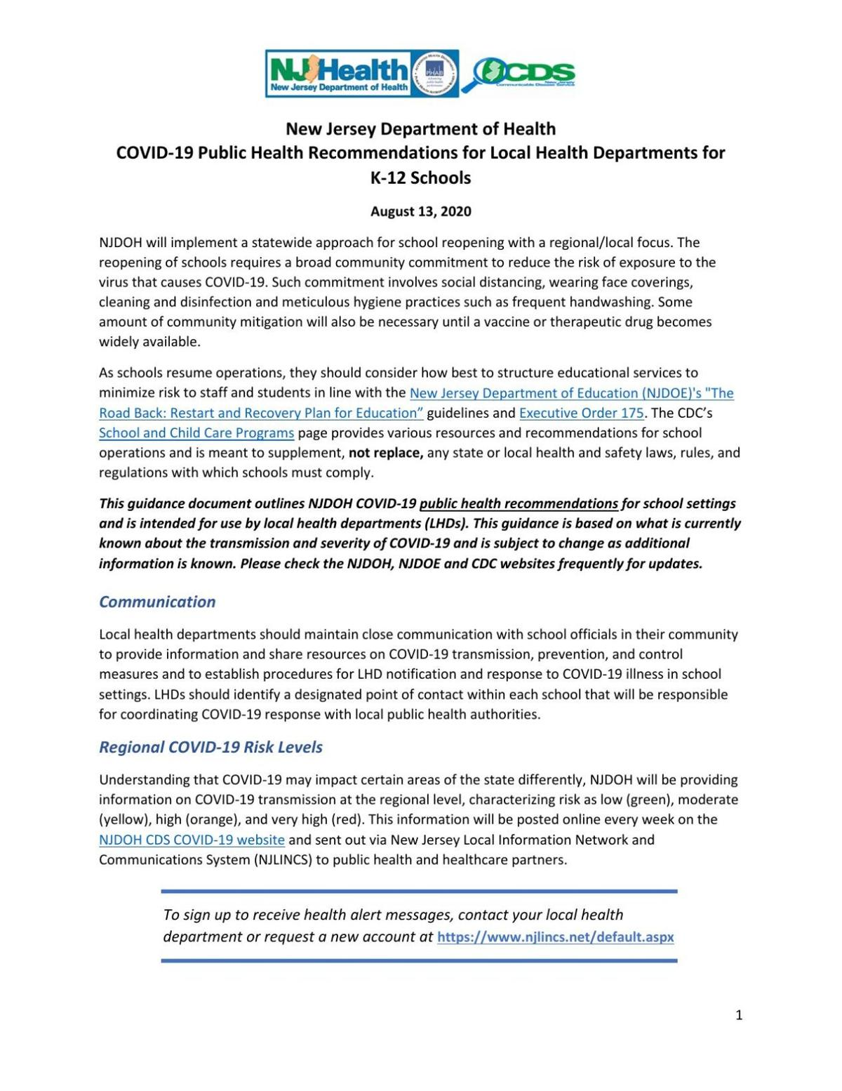 NJ Department of Health recommendations