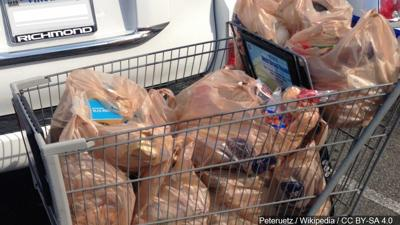 Single-use plastic bags in shopping cart