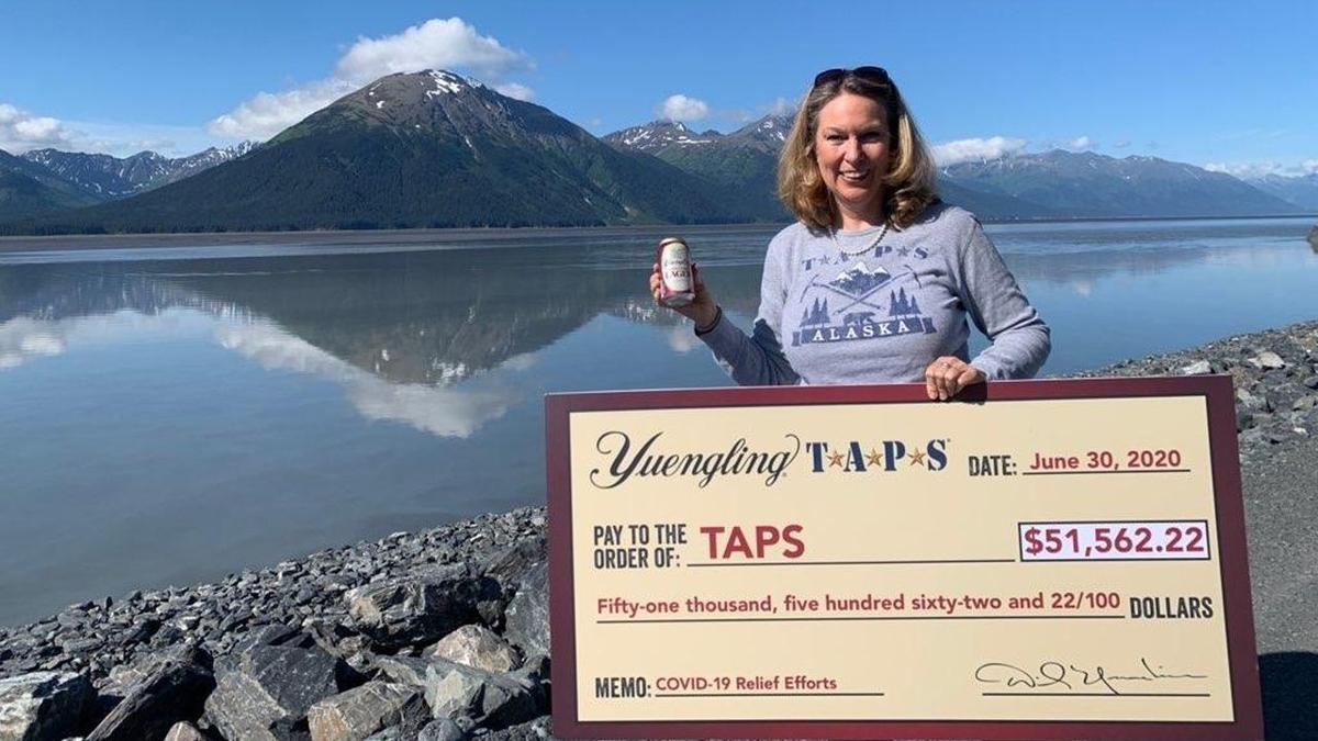 Bonnie Carroll with Yuengling TAPS check