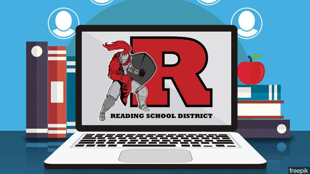 Computer with Reading School District logo on screen