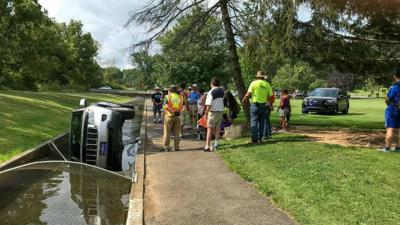 Caught on Camera: Car ends up on its side in Allentown fish hatchery waterway