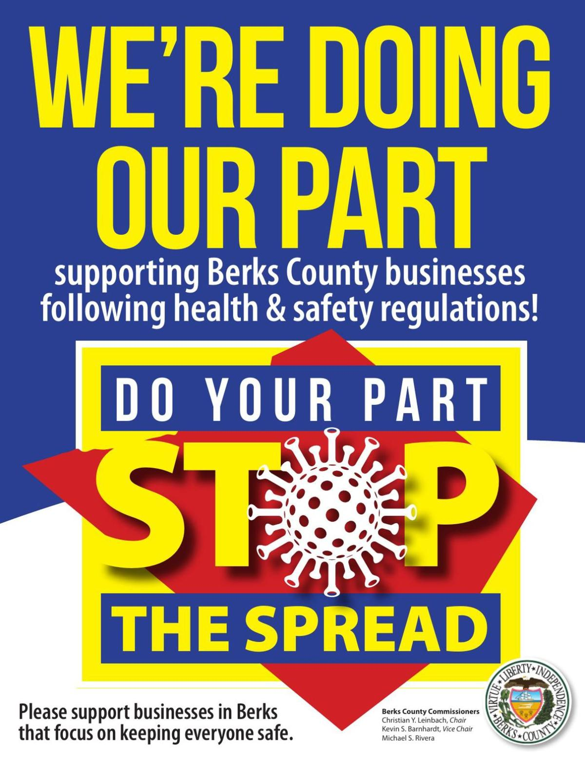 Berks 'We're Doing Our Part to Stop the Spread' poster