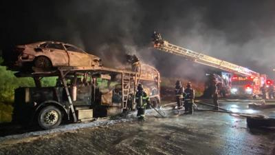 Vehicle car transporter fire Route 33 Palmer Township