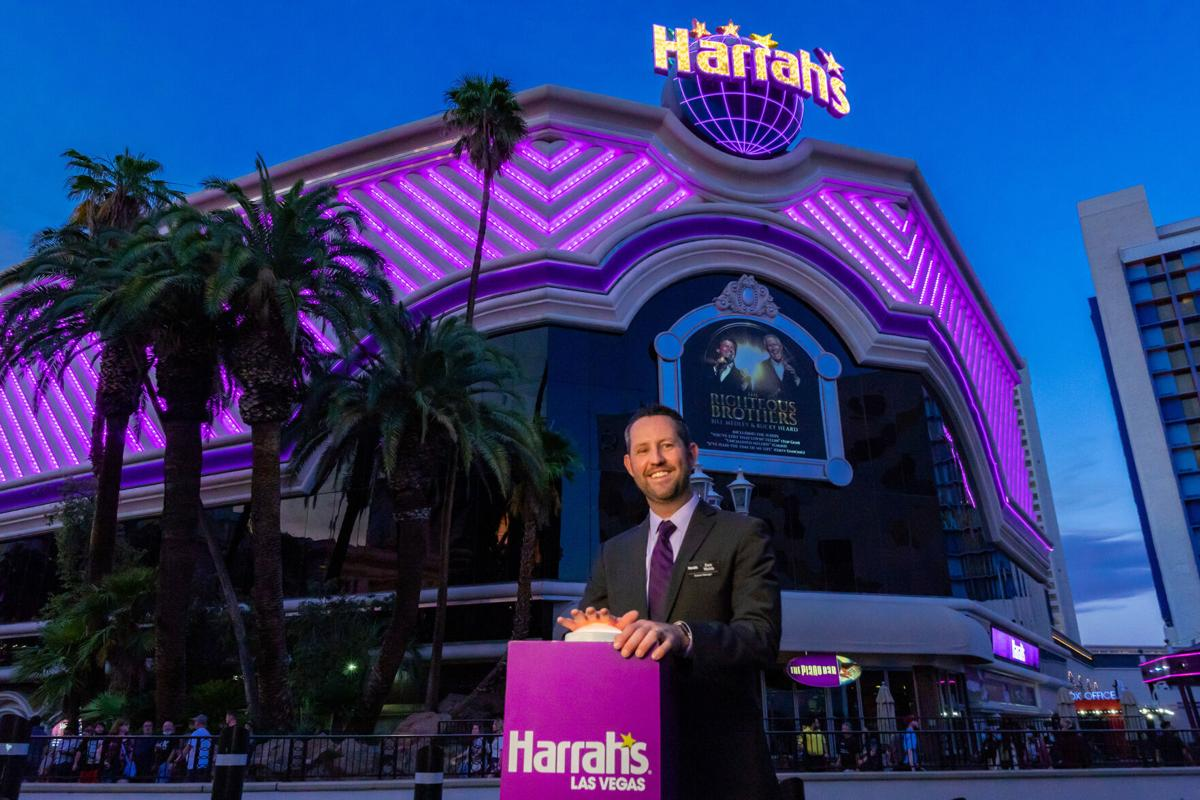 Senior Vice President and General Manager of Harrah's Las Vegas Dan Walsh Switching on the Purple Exterior Lighting