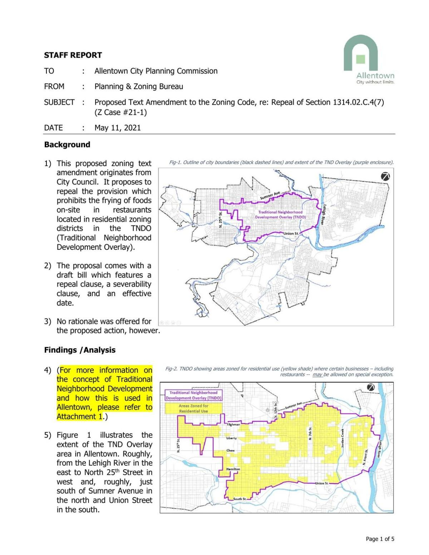 Allentown Planning and Zoning Bureau Frying Ban Report