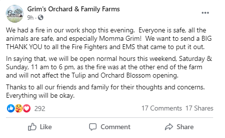 Grim's Orchard and Family Farm Facebook post