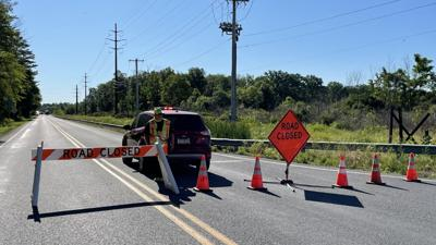 Police scene road closed Pumping Station Road Richland Township