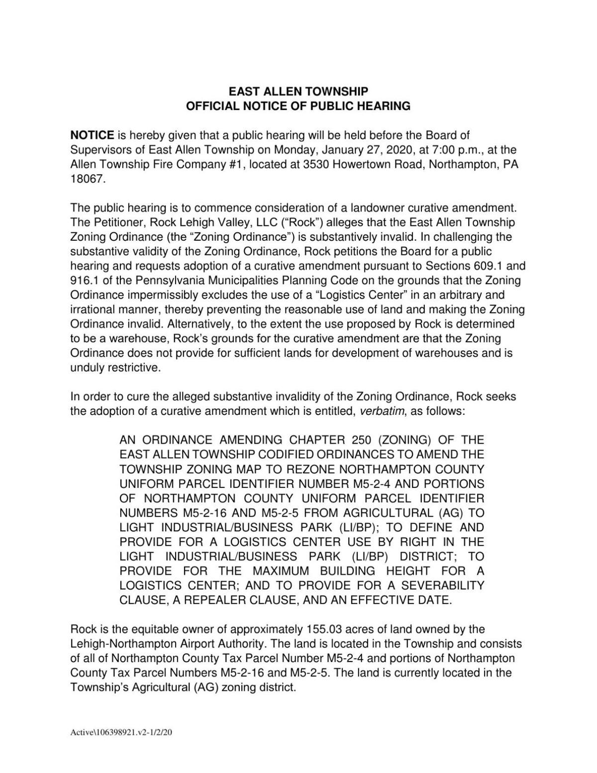 Official notice of public hearing on curative amendment