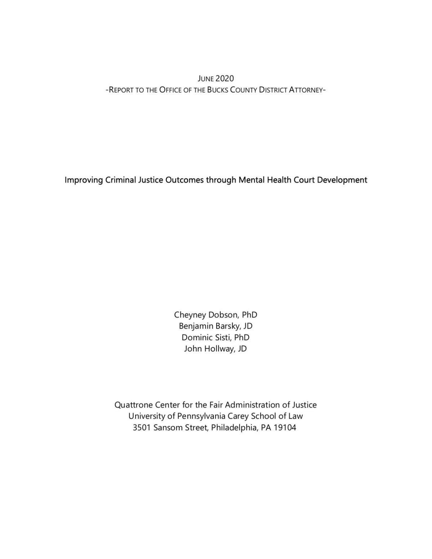 QC Bucks County Mental Health Court Report
