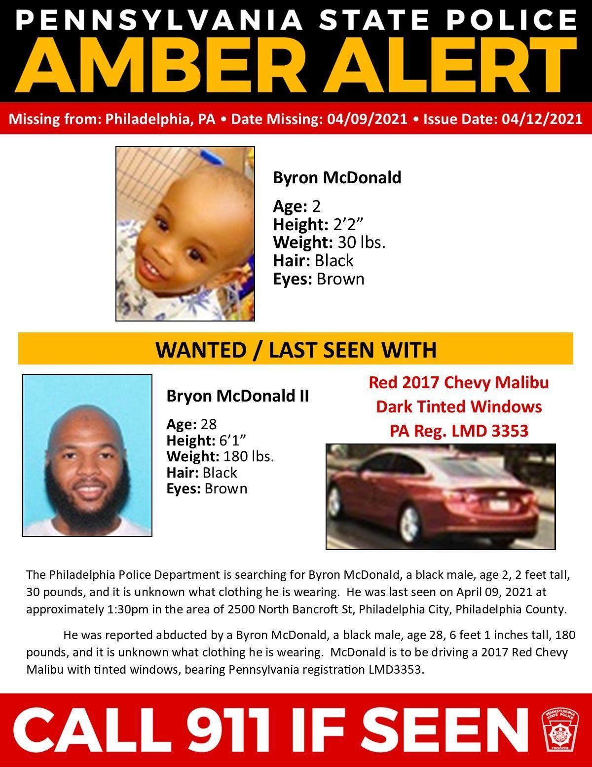 Pennsylvania Amber Alert poster